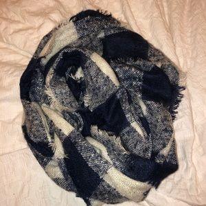 Blue and cream plaid scarf